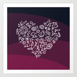 Blooming Heart - Burgundy Art Print