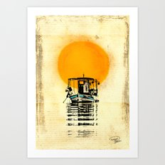 Sunset Boat Silhouette Art Print