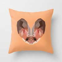 bat Throw Pillows featuring Bat by Alysha Dawn