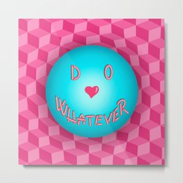 Do Whatever - Warped 3D Checkers -  Metal Print