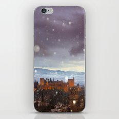 Snowstorm over the Alhambra Palace. Granada at sunset iPhone & iPod Skin