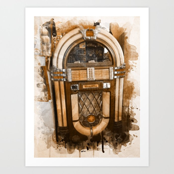 Wurlitzer Jukebox Digital Watercolor Art Print by shadesandjava