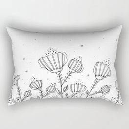Doodle Flowers Illustration Rectangular Pillow