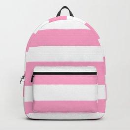 Carnation pink - solid color - white stripes pattern Backpack
