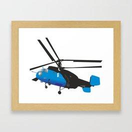 Black and Blue Helicopter Framed Art Print