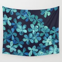stickers Wall Tapestries featuring Hand Painted Floral Pattern in Teal & Navy Blue by micklyn
