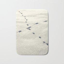 Crossed Animal Tracks in Snow Bath Mat
