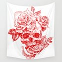 Roses and Human Skull - Red by sarachnid