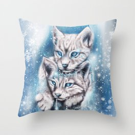 Blue Winter Lynx - Sheena Pike Art & Illustration Throw Pillow