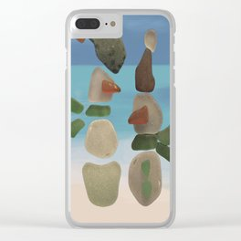 Finding Unexpected Sea Glass at the Beach #snowman #seaglass Clear iPhone Case