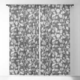 ROUTES gradient black grey abstract pattern Sheer Curtain