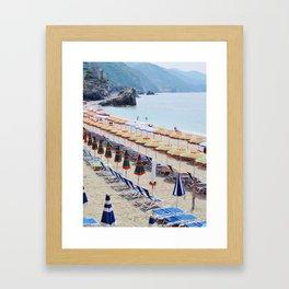 Cinque Terre beach parasols Framed Art Print