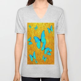 Gorgeous Gold Patterned Turquoise Butterflies Art Unisex V-Neck