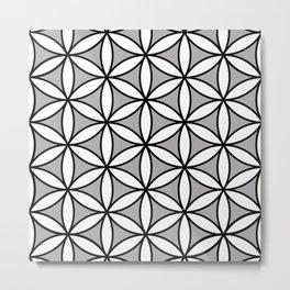 Flower of Life Pattern BW on Gray Metal Print