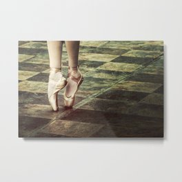 Dancing in the street. Feet of a ballet dancer. Metal Print