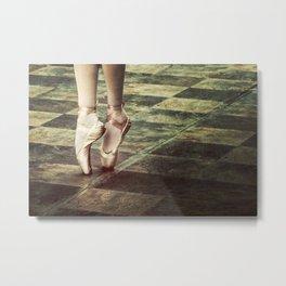 Dancing in the street. Feet of a ballet dancer. Metal Print