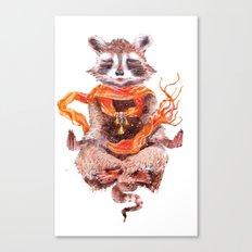 Raccoon meditates (female) Canvas Print