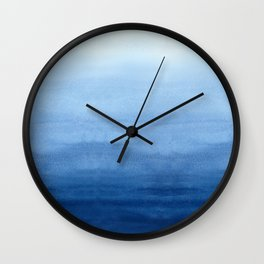 Blue Watercolor Ombré Wall Clock