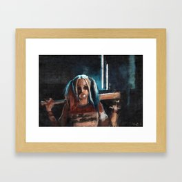 Harley Quinn - The Clown Princess Of Gotham With Her Goodnight Bat And Bubble Gum Framed Art Print