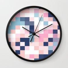 Map Blush And Blue Wall Clock