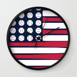 USA Baseball Flag Wall Clock