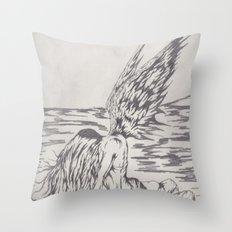 angel on rocks Throw Pillow