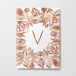 Letter V - Faux Rose Gold Glitter Flowers Metal Print