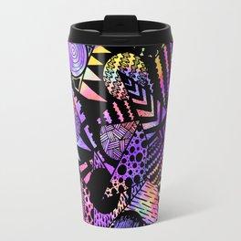 Geometric Retro Neon Watercolor Black Drawn Shapes Travel Mug