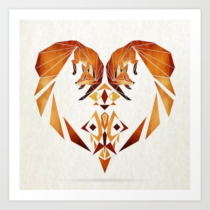 foxes heart  Art Print