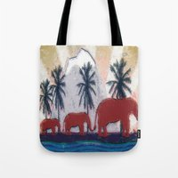 elephants Tote Bags featuring Elephants by LoRo  Art & Pictures