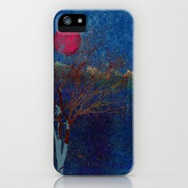 Abstract watercolor landscape with tree iPhone Case