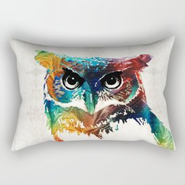Colorful Owl Art - Wise Guy - By Sharon Cummings Rectangular Pillow