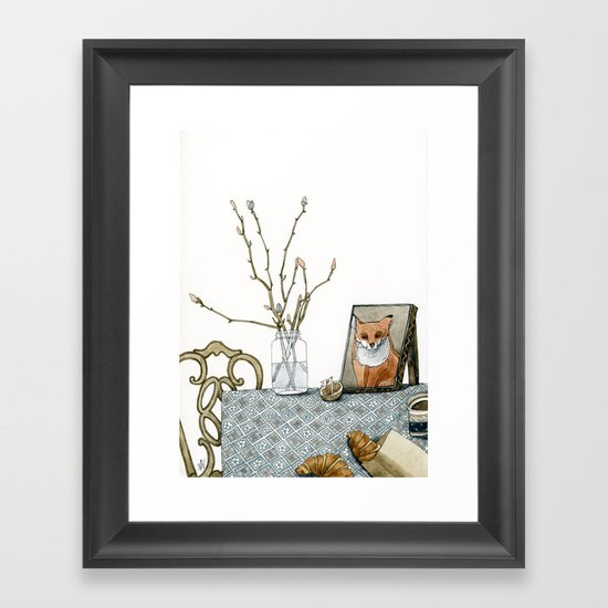 coffee and croissants Framed Art Print
