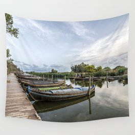 Boats in a lagoon port Wall Tapestry
