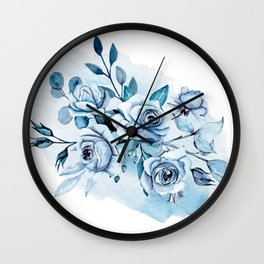 Indigo roses. Watercolor hand painting. Wall Clock