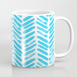 Simple Teal and white handrawn chevron - horizontal - for your summer Coffee Mug
