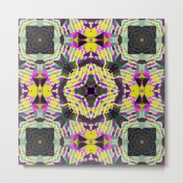 Retro 80s Neon Geometric Pattern Metal Print