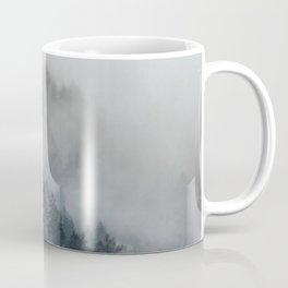 Misty Foggy Minimalist Landscape Photography Pine Forest Coffee Mug