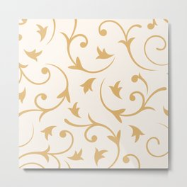 Baroque Design – Gold on Cream Metal Print