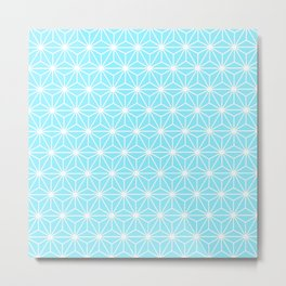 Ice Blue Geometric Flowers and Florals Isosceles Triangle Metal Print