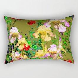 RED GERANIUMS & YELLOW IRIS  AVOCADO COLOR GARDEN PATTERNS Rectangular Pillow