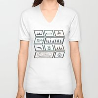 camping V-neck T-shirts featuring Camping [Color] by Corina Rivera Designs