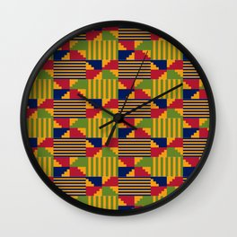 African Kente Pattern 9 Wall Clock