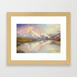 Matterhorn with Rainbow - Swiss Mountain Landscape Framed Art Print