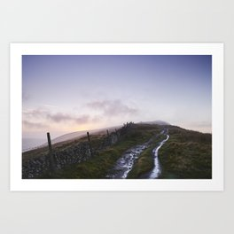 Mountain path and fence at sunset. Derbyshire, UK. Art Print