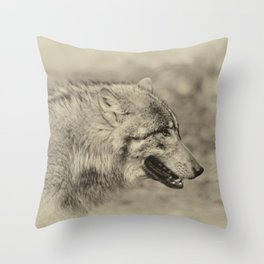 lonesome wolf Throw Pillow