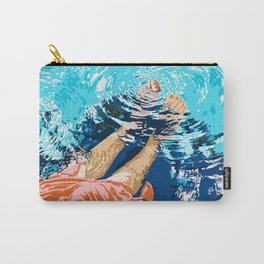 Take Me Where The Waves Kiss My Feet, Eclectic Nature River Woman Colorful Water Coral Bohemian Carry-All Pouch