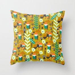 Autumn gnome garden Throw Pillow