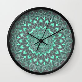 Boho turquoise watercolor floral mandala on grey cement concrete Wall Clock