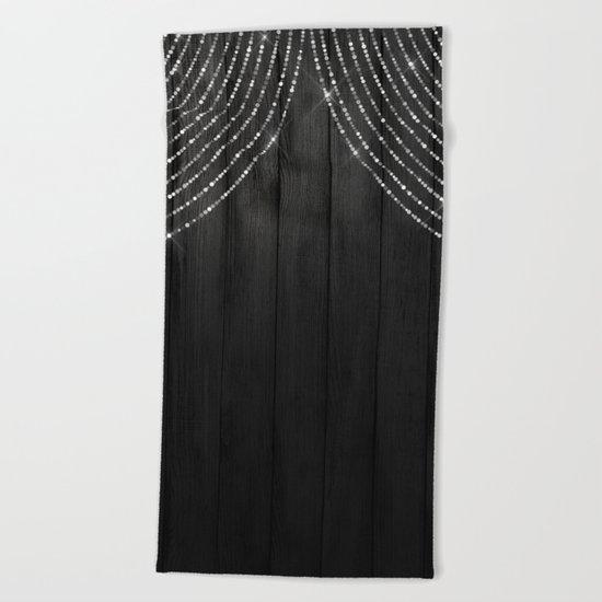 Fairy Lights on Wood 06 Beach Towel